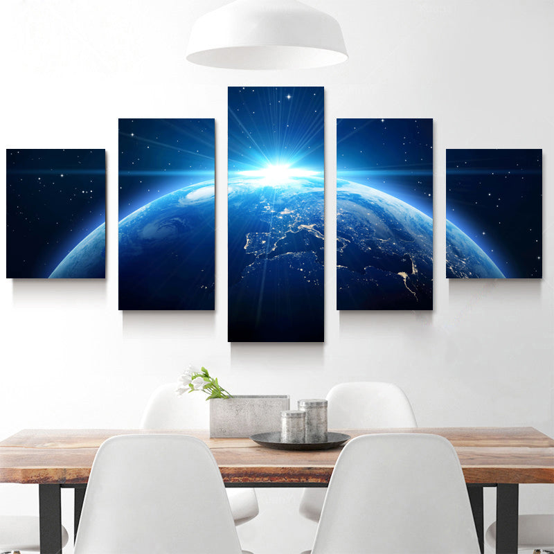 Sunrise Over Earth From Space 5 Panel Canvas Print Wall Art