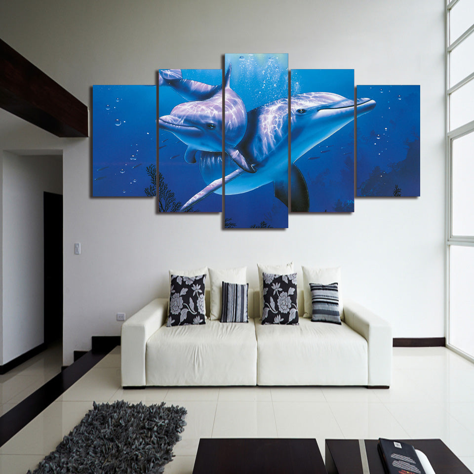 Dolphins 5 Panel Canvas Print Wall Art