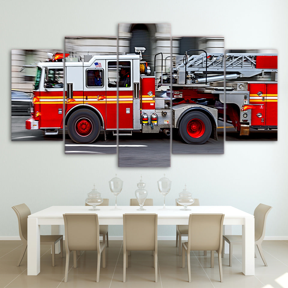 Speeding Fire Engine 5 Panel Canvas Print Wall Art Canvas Print Got It Here