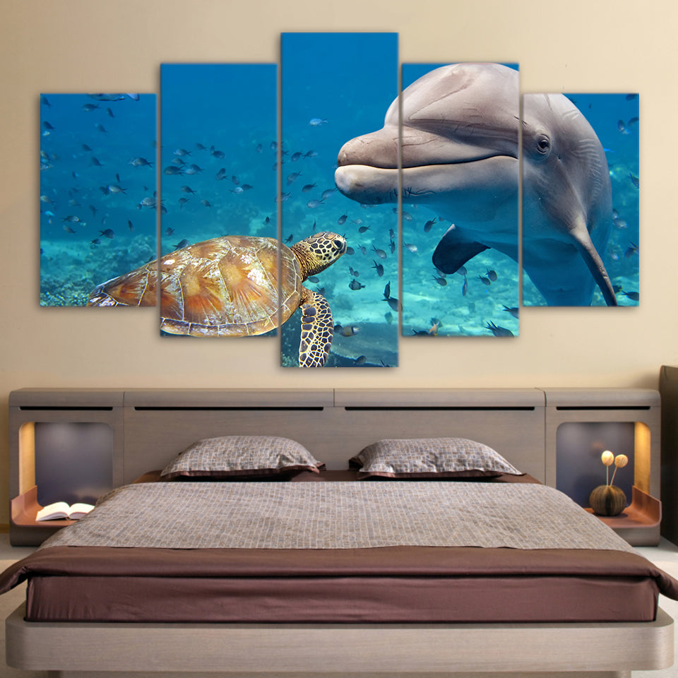 Dolphin And Green Sea Turtle 5 Panel Canvas Print Wall Art Canvas Print Got It Here
