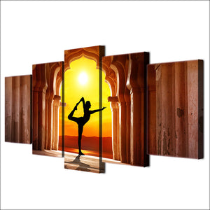 Yoga In The Temple 5 Panel Canvas Print Wall Art