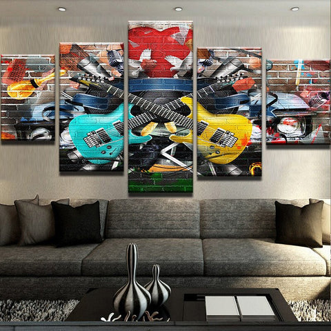 Guitar Abstract Mural 5 Panel Canvas Print Wall Art Canvas Print Got It Here