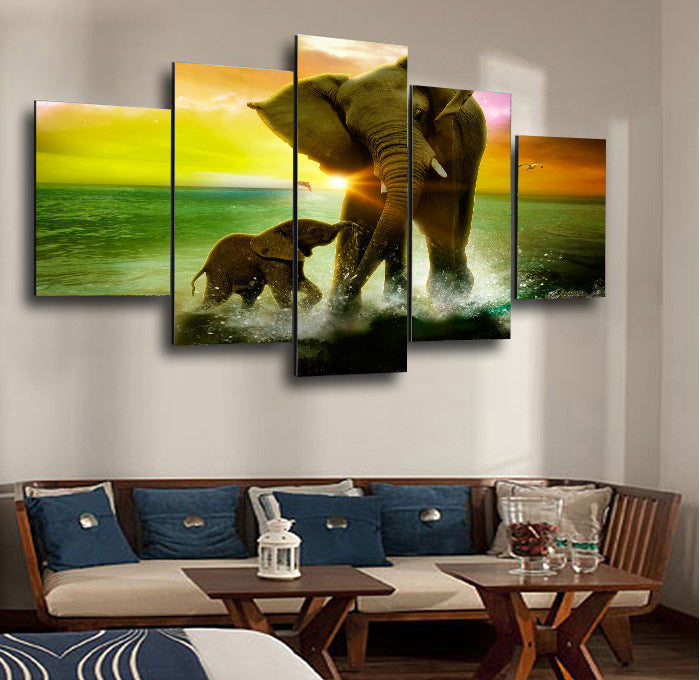 Elephants Playing In The Surf 5 Panel Canvas Print Wall Art Canvas Print Got It Here