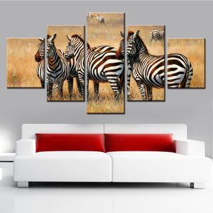 Wild Zebra 5 Panel Canvas Print Wall Art