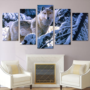 Wolf In Snowy Forest Painting 5 Panel Canvas Print Wall Art