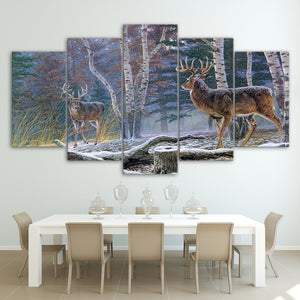 Deer In Forest Painting 5 Panel Canvas Print Wall Art