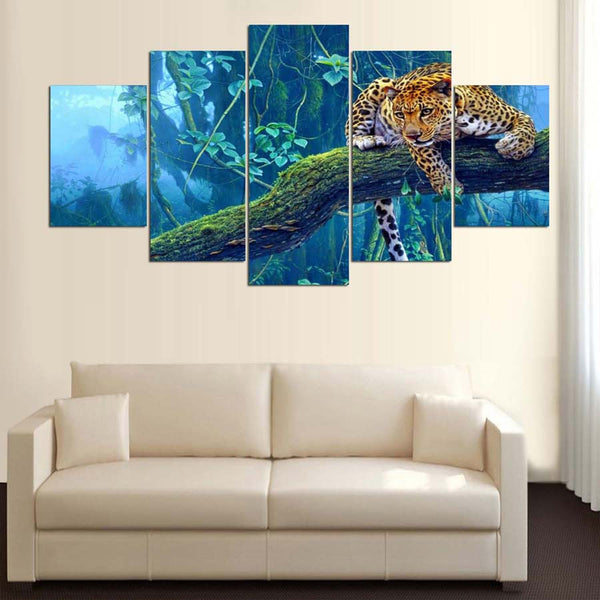 Leopard On Jungle Branch 5 Panel Canvas Print Wall Art