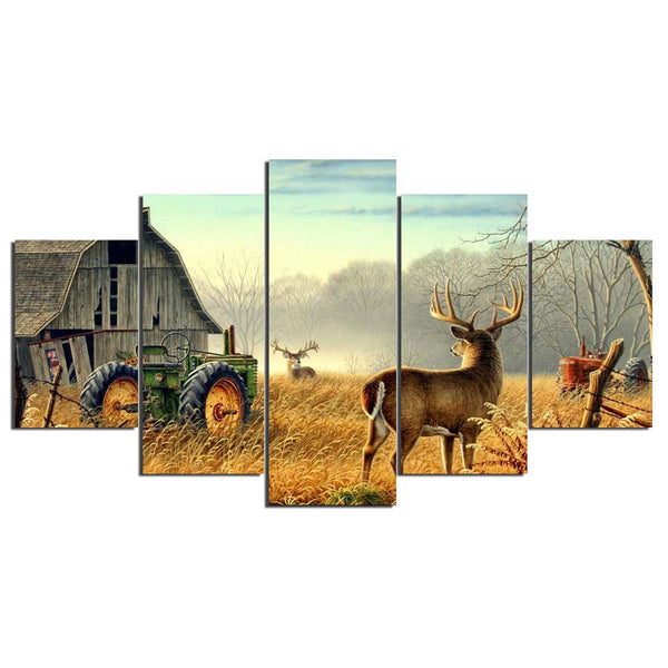 Deer In Field With Rustic Barn Painting 5 Panel Canvas Print Wall Art