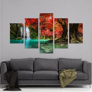 Forest Waterfall 5 Panel Canvas Print Wall Art