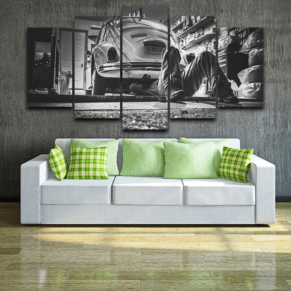 Volkswagen VW Beetle Dinocar Mechanic 5 Panel Canvas Print Wall Art