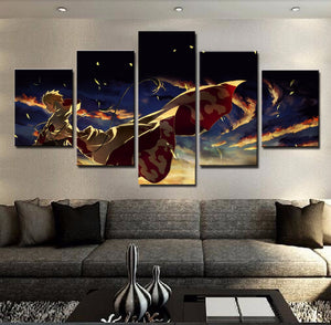 Naruto Hokage Ninjia 5 Panel Canvas Print Wall Art