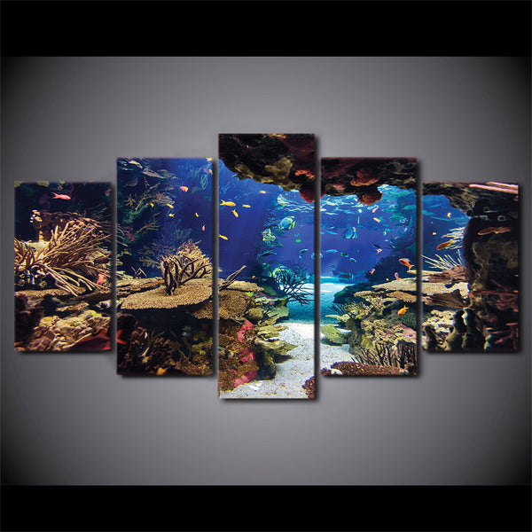 Tropical Reef Underwater Cave 5 Panel Canvas Print Wall Art