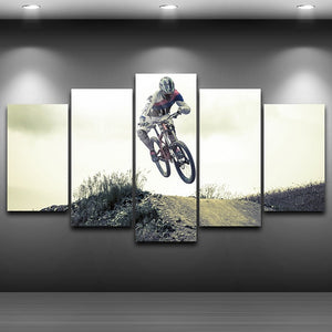 BMX Racer 5 Panel Canvas Print Wall Art