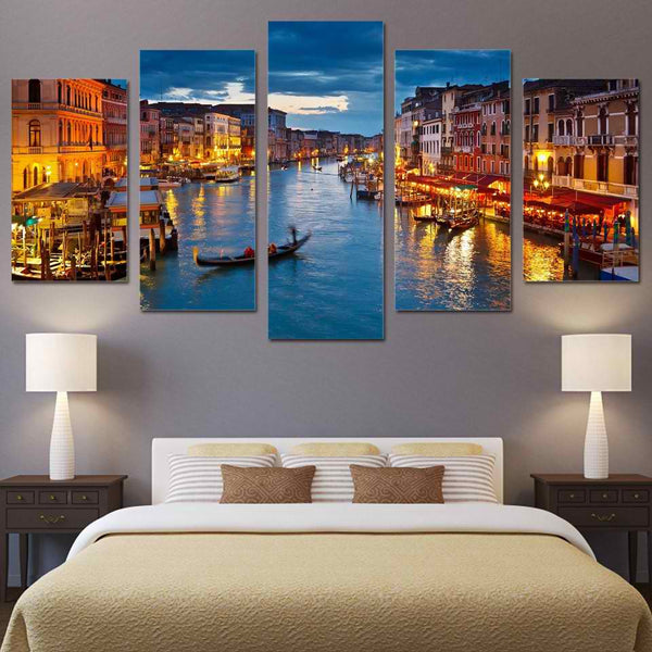 Venice Italy 5 Panel Canvas Print Wall Art