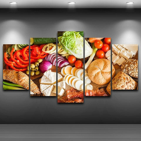 Deli Meat Cheese Bread Vegetables 5 Panel Canvas Print Wall Art