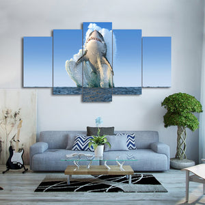 Great White Shark Breach Air Jaws 5 Panel Canvas Print Wall Art