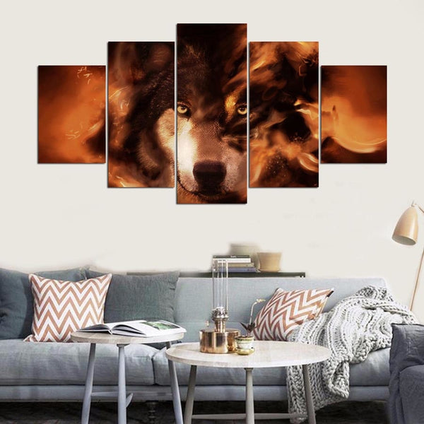 Fire Wolf 5 Panel Canvas Print Wall Art