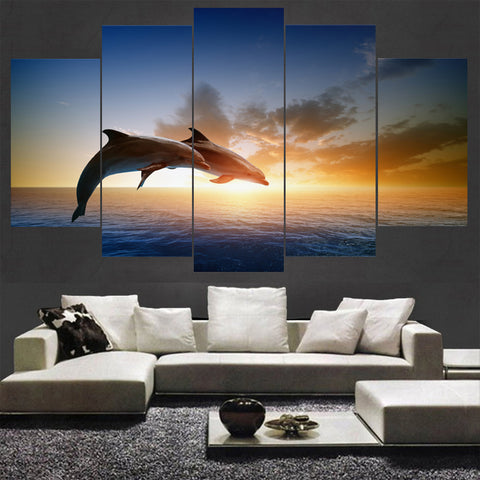 Bottlenose Dolphins Jumping At Sunset 5 Panel Canvas Print Wall Art Canvas Print Got It Here