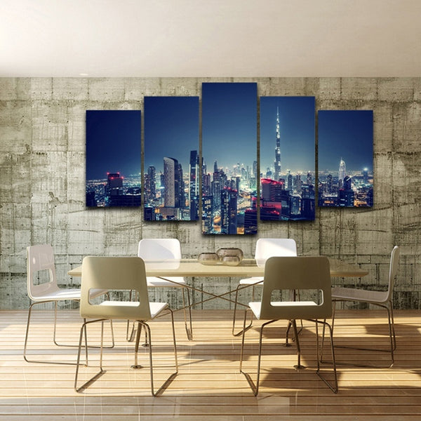Dubai Skyline UAE 5 Panel Canvas Print Wall Art