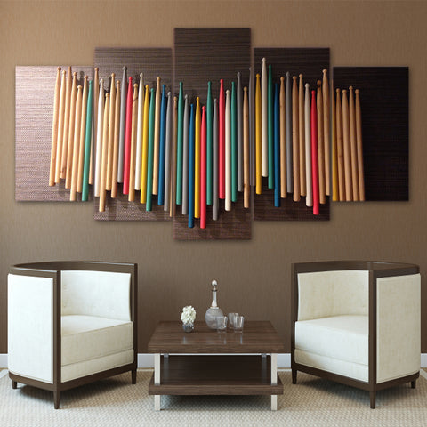 Drum Sticks Multi Colored 5 Panel Canvas Print Wall Art