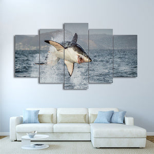 Great White Shark Jumping Breach Air Jaws 5 Panel Canvas Print Wall Art Canvas Print Got It Here