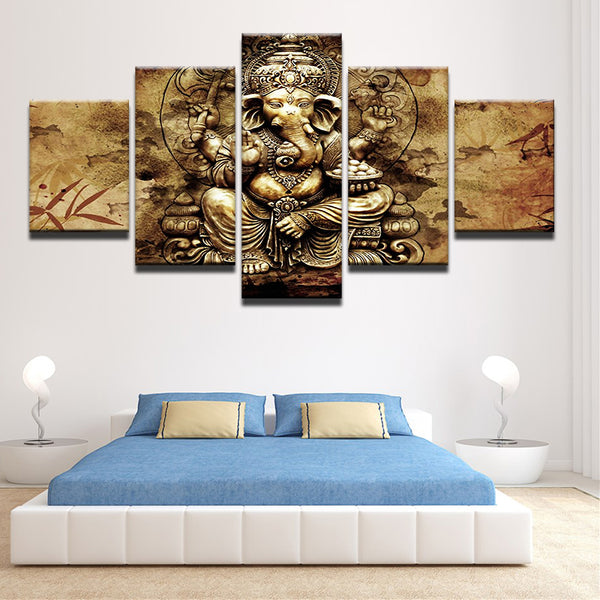 Lord Ganesha 5 Panel Canvas Print Wall Art Canvas Print Got It Here