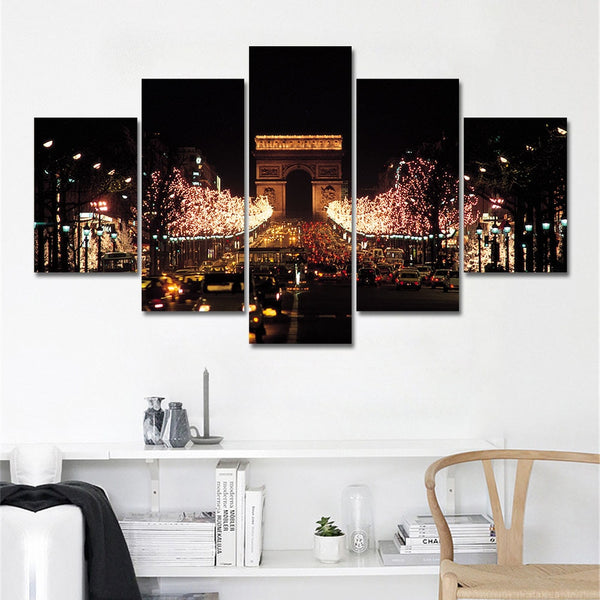 Champs-Elysees Arc De Triomphe Paris 5 Panel Canvas Print Wall Art