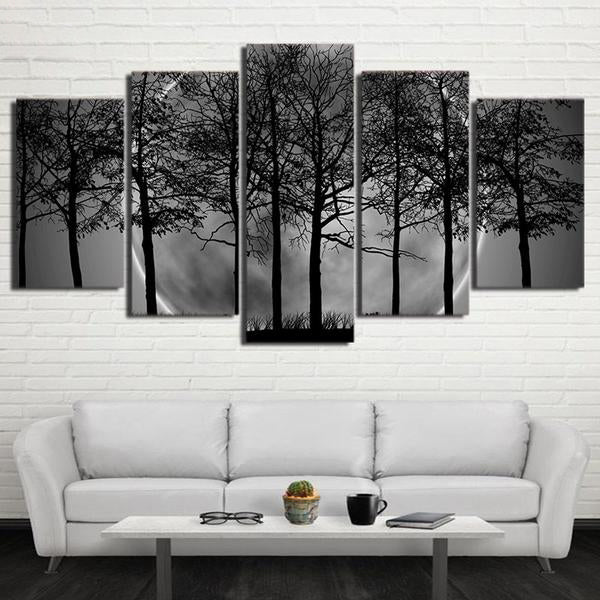 Black And White Timelapse Night Tree 5 Panel Canvas Print Wall Art