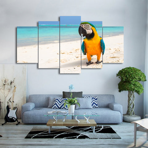 Blue And Yellow Macaw On The Beach 5 Panel Canvas Print Wall Art Canvas Print Got It Here