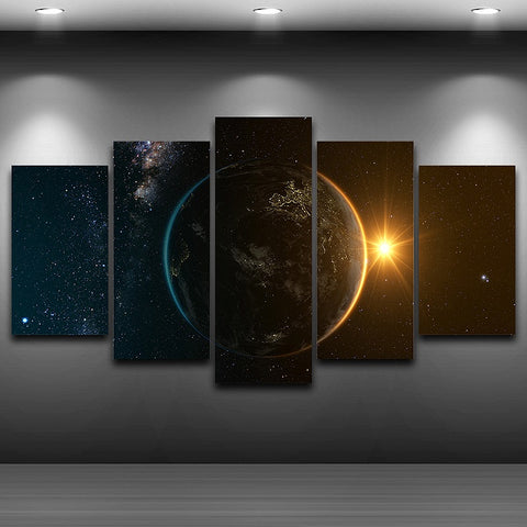 Space Fantasy Abstract 5 Panel Canvas Print Wall Art
