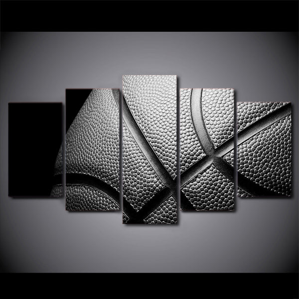 Basketball In Black And White 5 Panel Canvas Print Wall Art Canvas Print Got It Here