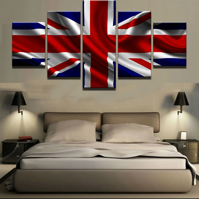 Waving British Flag 5 Panel Canvas Print Wall Art UK England Canvas Print Got It Here
