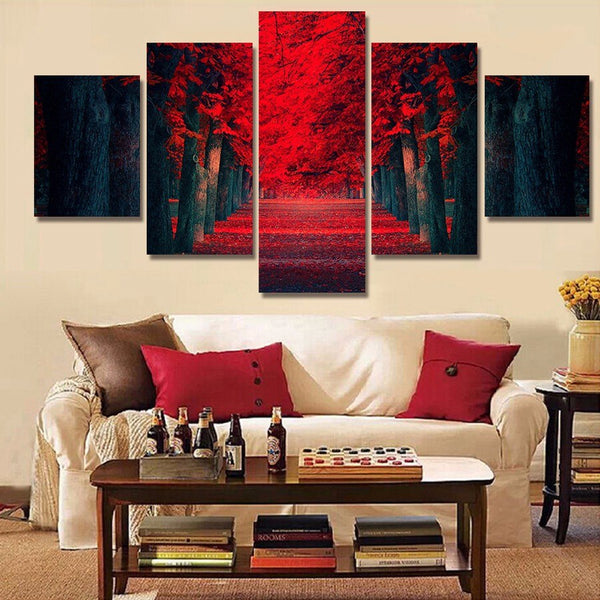 Red Tree Lane 5 Panel Canvas Print Wall Art