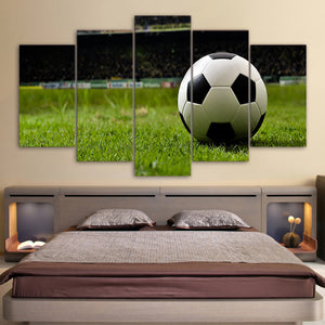 Soccer Ball Football 5 Panel Canvas Print Wall Art