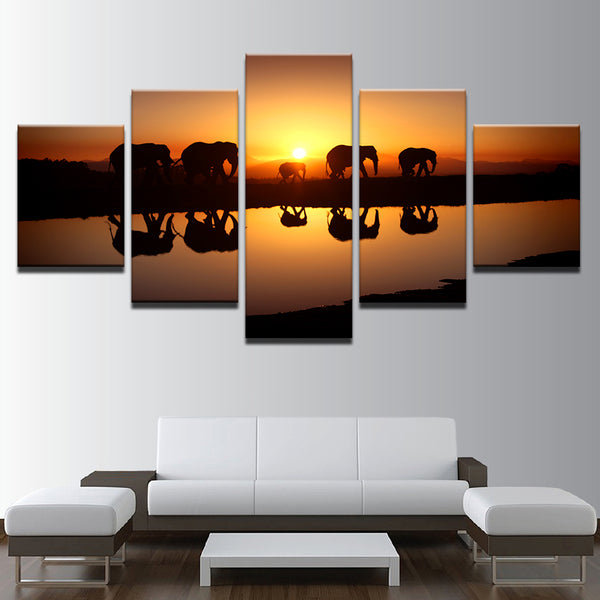 Elephant Caravan At Sunset 5 Panel Canvas Print Wall Art Canvas Print Got It Here