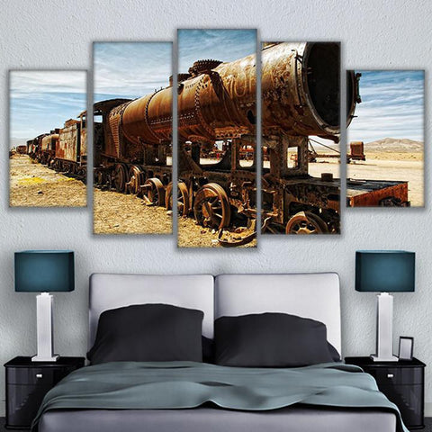 Antique Steam Train Locomotive In The Desert 5 Panel Canvas Print Wall Art Canvas Print Got It Here