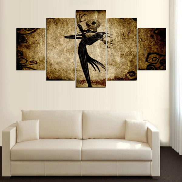 Nightmare Before Christmas Jack Skellington 5 Panel Canvas Print Wall Art Canvas Print Got It Here