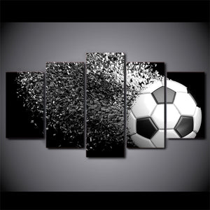 Soccer Ball Exploding 5 Panel Canvas Print Wall Art