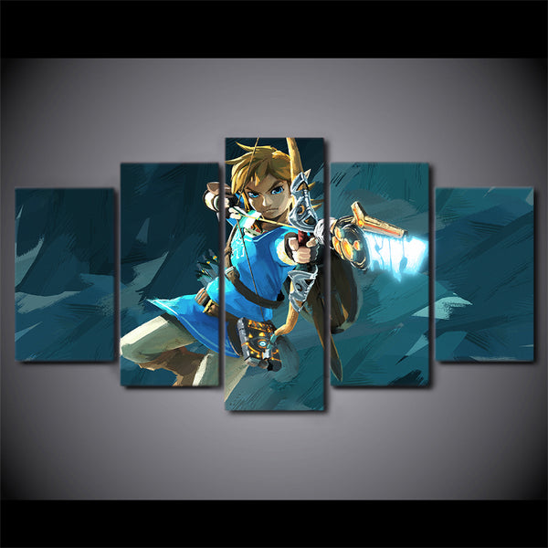 Zelda Link 5 Panel Canvas Print Wall Art
