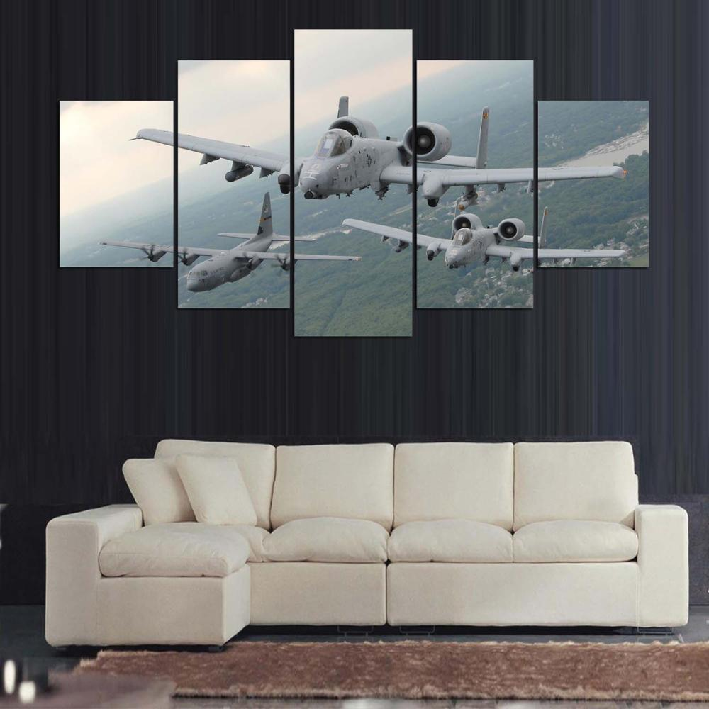 A-10 Thunderbolt Warthog AC-130 5 Panel Canvas Print Wall Art Canvas Print Got It Here