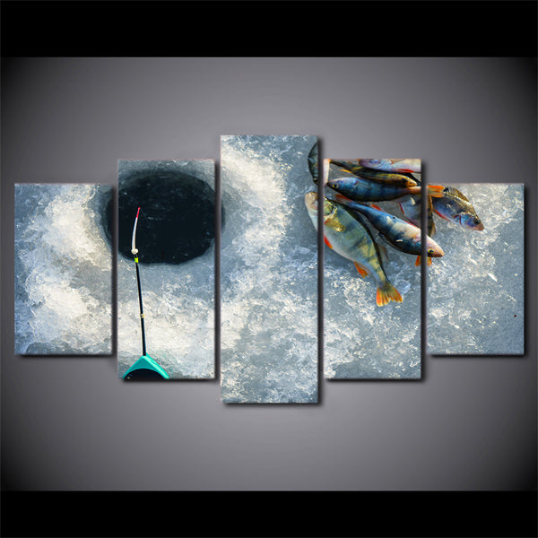 Ice Fishing Perch 5 Panel Canvas Print Wall Art