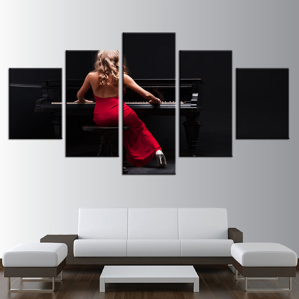 The Lady In Red Piano Player 5 Panel Canvas Print Wall Art Canvas Print Got It Here