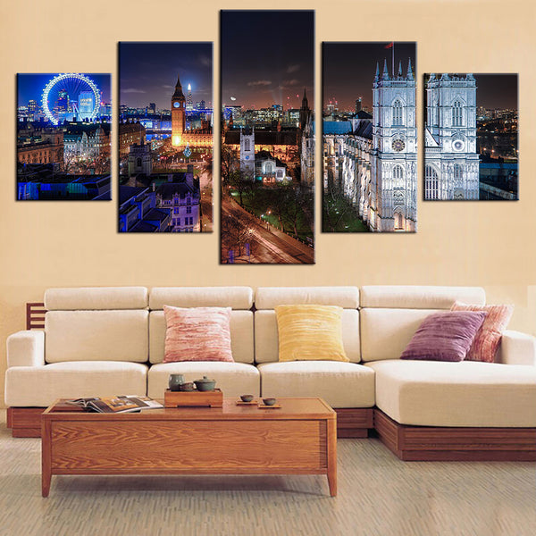 London England At Night 5 Panel Canvas Print Wall Art
