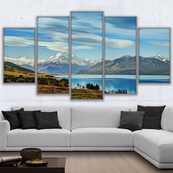Lake Pukaki New Zealand Snow Capped Mountains 5 Panel Canvas Print Wall Art
