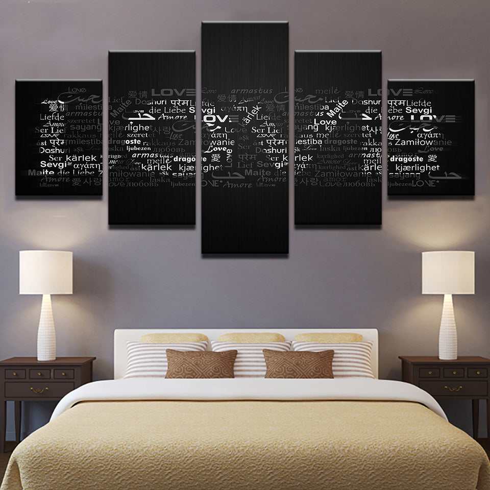 Love In Any Language 5 Panel Canvas Print Wall Art