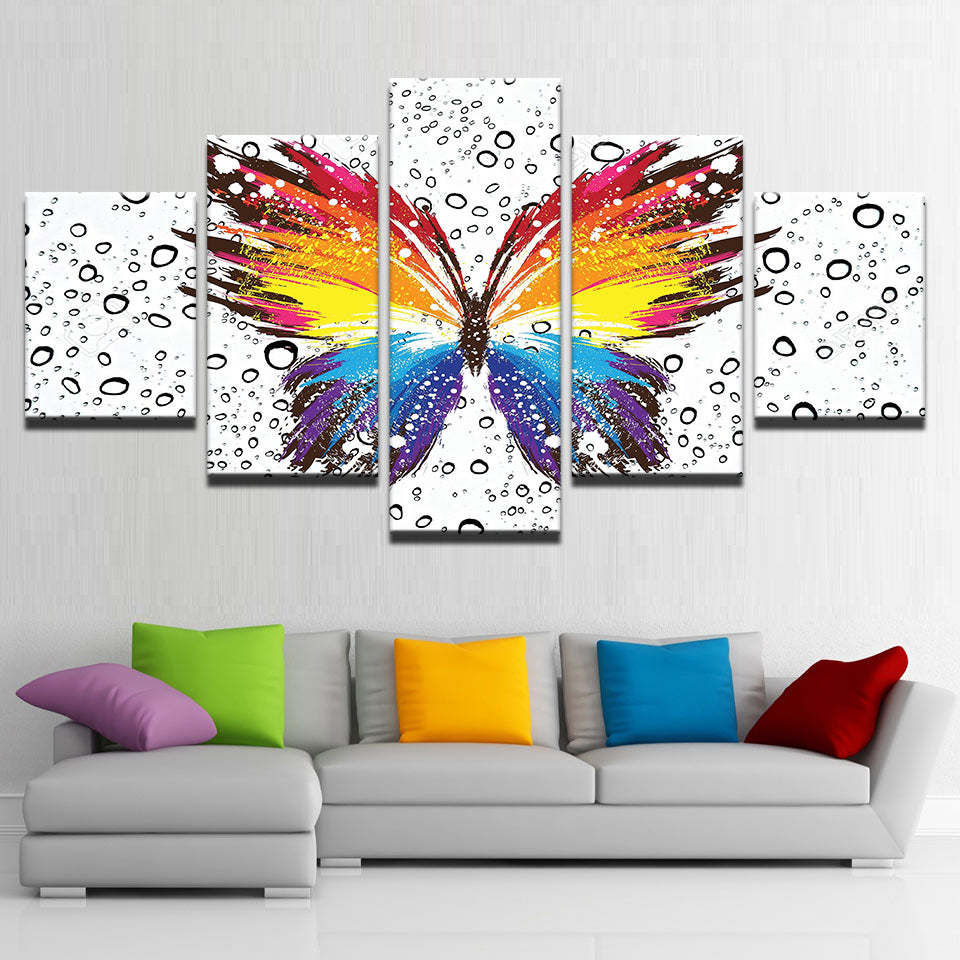 Rainbow Butterfly 5 Panel Canvas Print Wall Art Canvas Print Got It Here