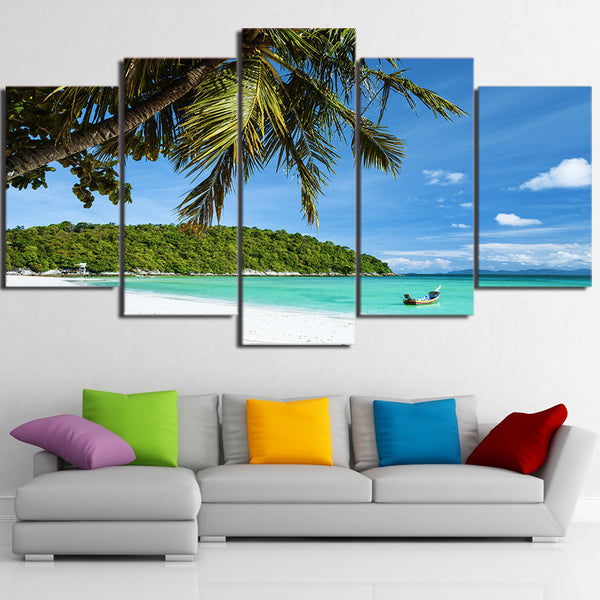 Palm Tree On Tropical Beach 5 Panel Canvas Print Wall Art Canvas Print Got It Here