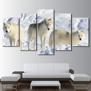 Wolves In The Arctic 5 Panel Canvas Print Wall Art Canvas Print Got It Here