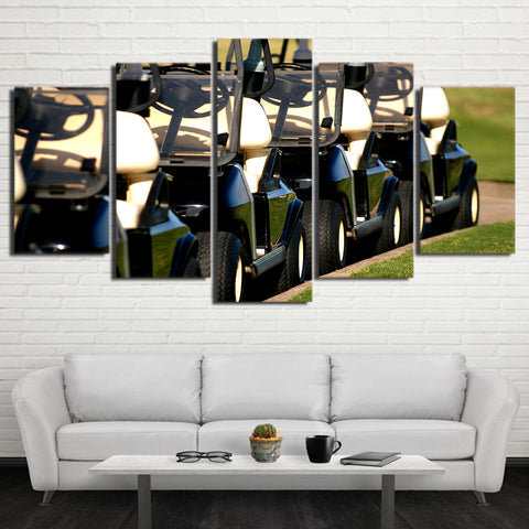 Golf Carts 5 Panel Canvas Print Wall Art