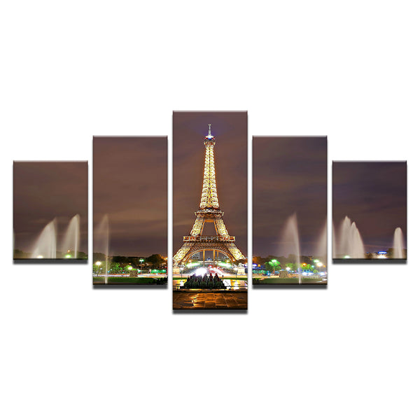 Eiffel Tower Paris At Night 5 Panel Canvas Print Wall Art
